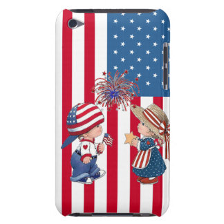 American Flag Boy and Girl iPod Case-Mate Case