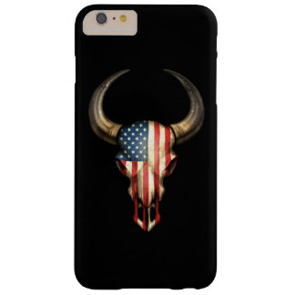 American Flag Bull Skull on Black Barely There iPhone 6 Plus Case