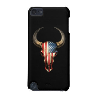 American Flag Bull Skull on Black iPod Touch (5th Generation) Cover