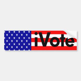 American Flag Bumper, iVote (black) Car Bumper Sticker