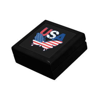 American Flag Butterfly Red White Blue USA Jewelry Box