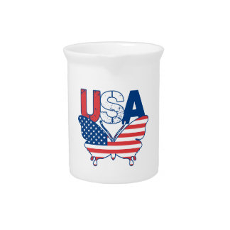 American Flag Butterfly Red White Blue USA Pitcher