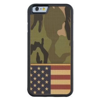 American Flag Camo Carved® Maple iPhone 6 Bumper