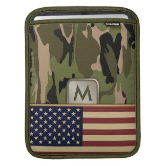 American Flag Camo MonoGram Sleeve For iPads