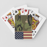 """American Flag Camo Playing Cards<br><div class=""""desc"""">Patriotic American flag on military green camouflage pattern background.</div>"""