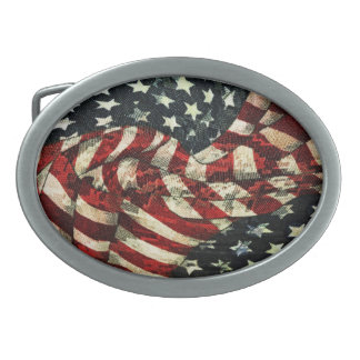 American Flag-Camouflage by Shirley Taylor Oval Belt Buckle