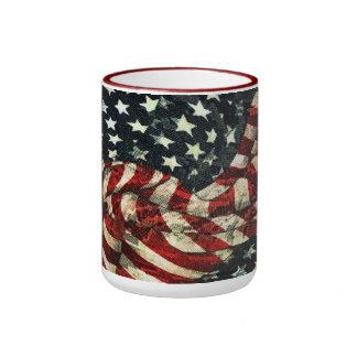 American Flag-Camouflage Ringer Coffee Mug