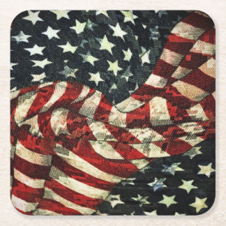 American Flag-Camouflage Square Paper Coaster