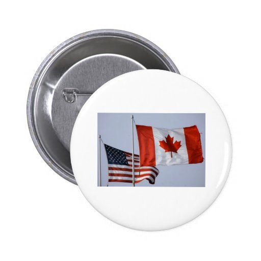 AMERICAN FLAG / CANADIAN FLAG 2 INCH ROUND BUTTON