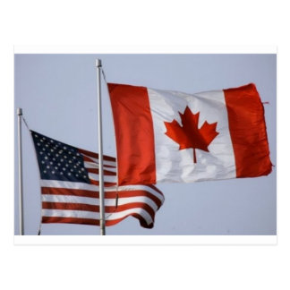 AMERICAN FLAG / CANADIAN FLAG POSTCARD