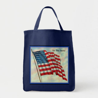 American Flag Canvas Grocery Tote Bag