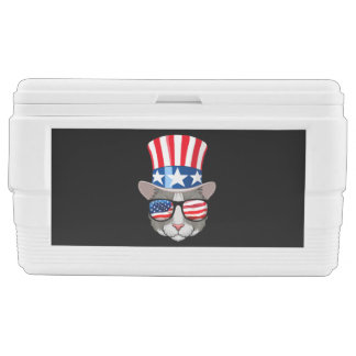 American Flag Cat With Top Hat And Glasses Chest Cooler