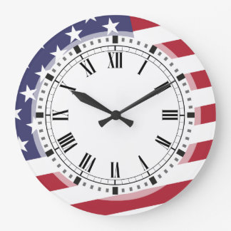 American Flag - Celebrate the USA - July 4 Classic Large Clock