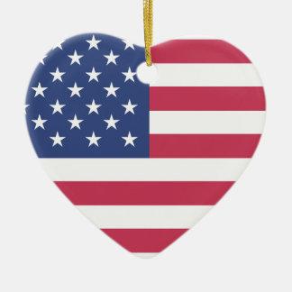 American Flag Ceramic Ornament