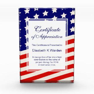 American Flag Certificate of Appreciation Award