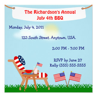 American Flag Chair July 4th or Memorial Day BBQ Personalized Invitations