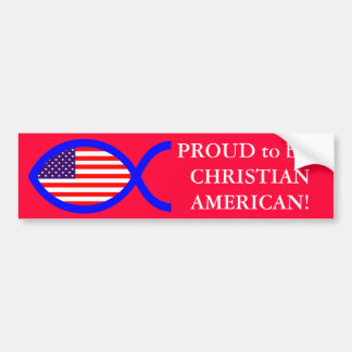 American Flag Christian Fish Symbol Bumper Sticker
