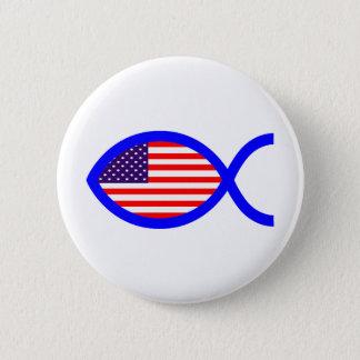 American Flag Christian Fish Symbol Button