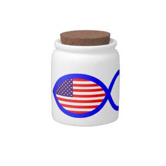 American Flag Christian Fish Symbol Candy Jar