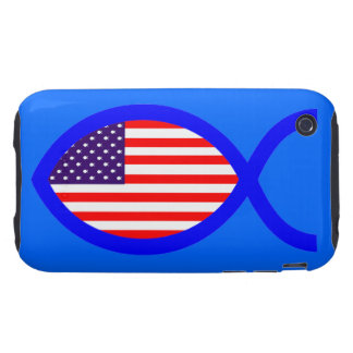 American Flag Christian Fish Symbol iPhone 3 Tough Covers