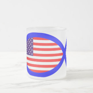 American Flag Christian Fish Symbol Frosted Glass Coffee Mug
