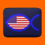 American Flag Christian Fish Symbol MacBook Sleeves