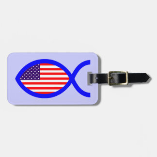 American Flag Christian Fish Symbol Luggage Tag