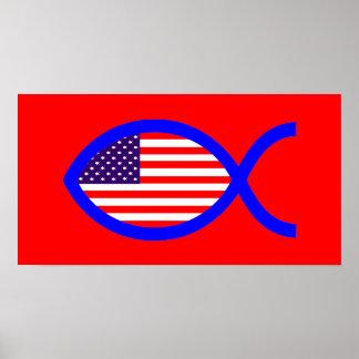 American Flag Christian Fish Symbol Poster