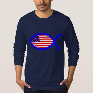 American Flag Christian Fish Symbol T-Shirt
