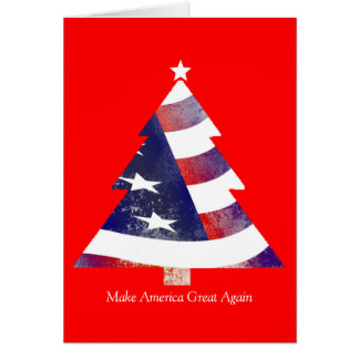 American Flag Christmas Tree Christmas Card