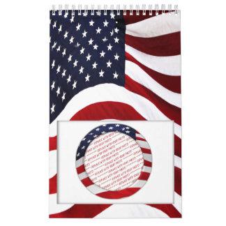 American Flag Circle Photo Frame Calendar