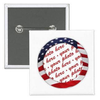 American Flag Circle Photo Frame Pinback Button
