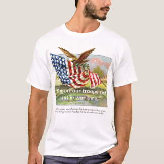 american-flag-clipart-3, Support our troops not... T-Shirt