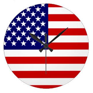 American flag round wall clock