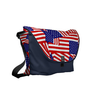 American Flag Collage Courier Bag