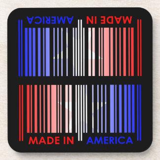 American Flag Colors Bar Code Design Beverage Coaster