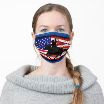 American flag cowboy adult cloth face mask