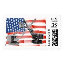 American Flag Crane Operator Northwest Shovel Postage