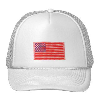 American Flag Created with Small Hearts Trucker Hat