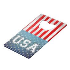 American Flag Credit Card Bottle Opener