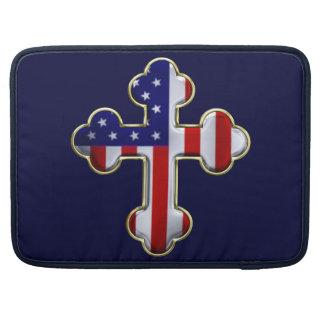 American Flag Cross2 MacBook Pro Sleeve