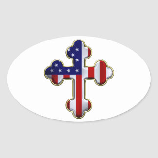American Flag Cross2 Oval Sticker