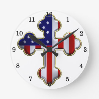American Flag Cross2 Round Clock
