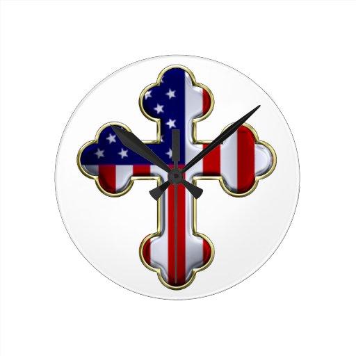 American Flag Cross2 Round Wall Clocks