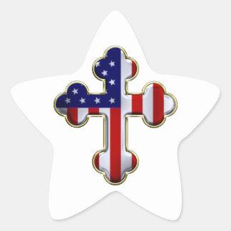 American Flag Cross2 Star Sticker