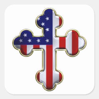 American Flag Cross2 Square Sticker