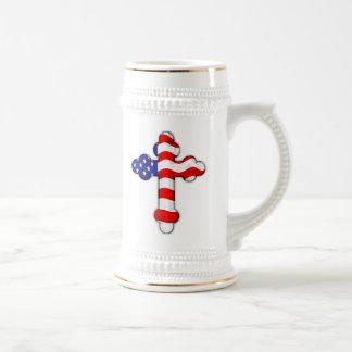 American Flag Cross 18 Oz Beer Stein