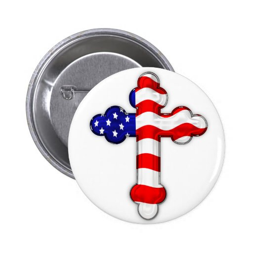 American Flag Cross 2 Inch Round Button