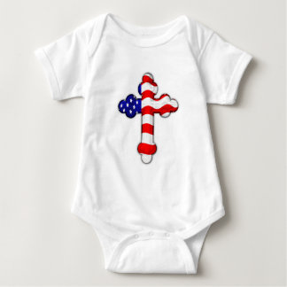 American Flag Cross Baby Bodysuit