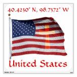American Flag Cross Wall Decal